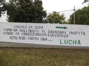 """Message posté en Janvier 2013 par le mouvement LUCHA pour eveiller la conscience des Gomatraciens à agir contre le """"Mensonge"""" des politiques"""