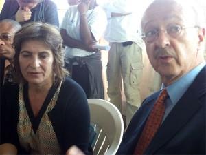 La ministre Néerlandaise de la coopération au developpement, Liliane Ploumen et l'ambassadeur des pays bas en RDC, Cor Van Honk, pendant le point de presse tenu ce 05 Fevrier 2013, au camp des déplacés de Mugunga 3, en RDC