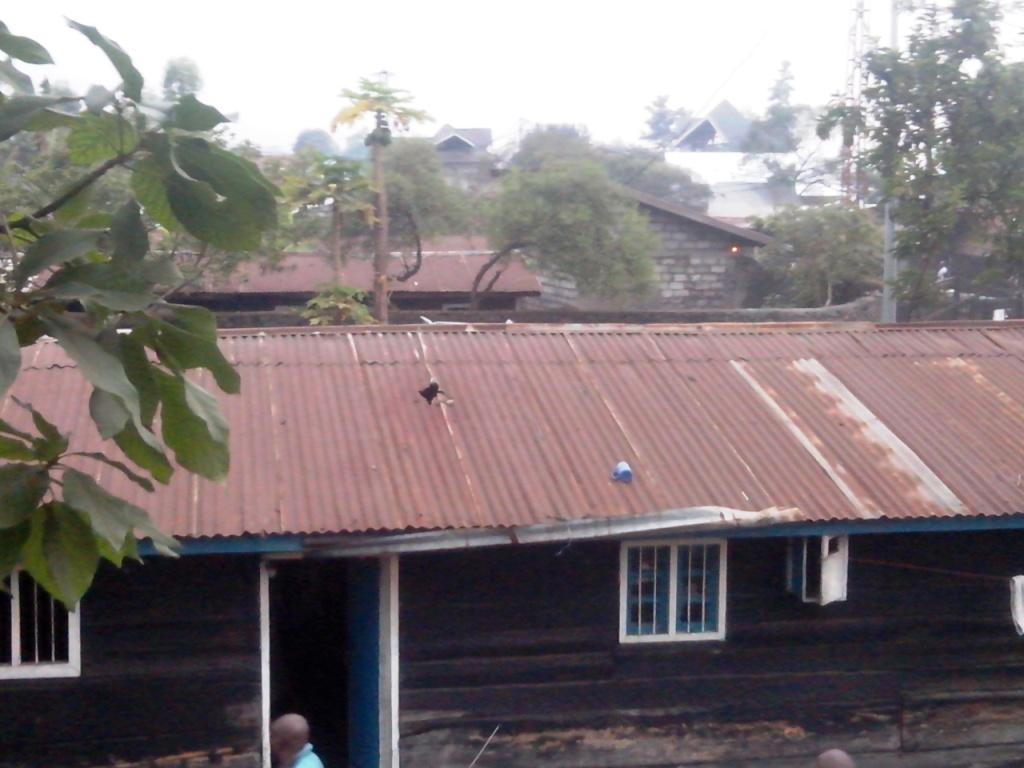 Vu a vol d'oiseau de la Maison touchee par l'explosif dans la ville de Goma
